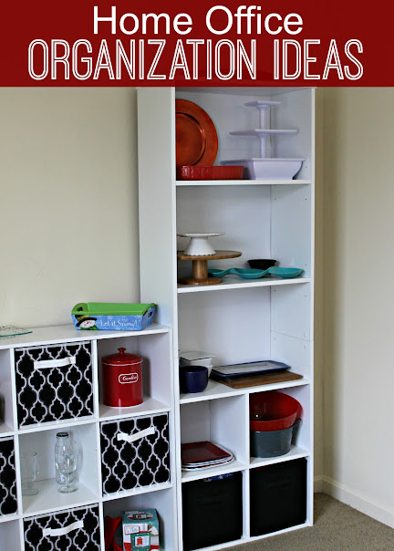 Home Office Organization Ideas using inexpensive shelving units!