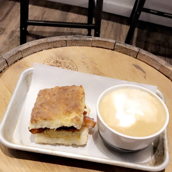 Mighty Breakfast Biscuit and a cappuccino 👌🏼