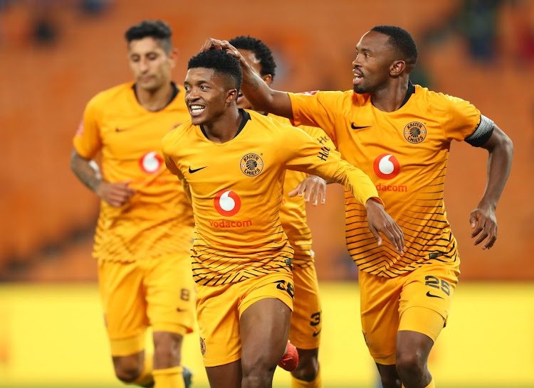 Dumisani Zuma ,(l) celebrates goal with Leonardo Castro (c), Nkosingiphile Ngcobo and Bernard Parker (r) of Kaizer Chiefs during the Absa Premiership 2018/19 match between Kaizer Chiefs and Maritzburg United at FNB Stadium, Johannesburg on 09 March 2019.