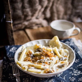 Cencioni Pasta with Caramelized Shallots in a Creamy Mushroom Sauce.