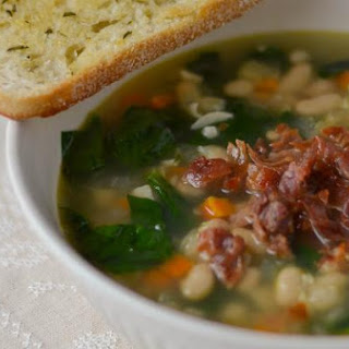White Bean and Garlic Soup with Spinach and Crispy Prosciutto and Rosemary-Garlic Toasts.