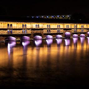 Petite France/Strasburg by Berrin Aydın - City,  Street & Park  Night ( strasburg, ligths, night, france, le pont couvert,  )