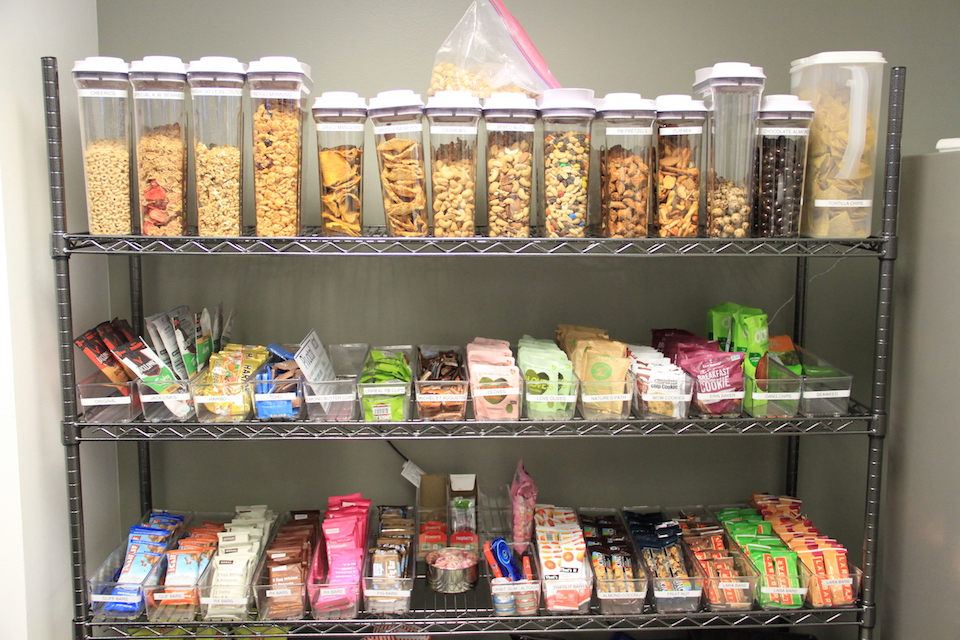 Snack room in San Francisco Bay Area stocked with healthy snacks and managed by Office Libations.