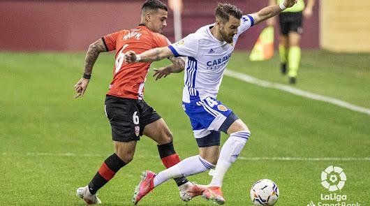 Mathieu Peybernes en el partido UD Logroñés-Real Zaragoza.