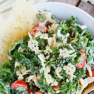 Shredded Chicken Kale Caesar Salad with Parmesan Crisps
