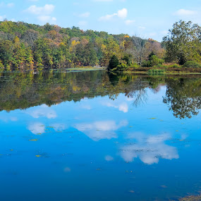 Green Lane Reservior 1 by John Ogden - Landscapes Waterscapes ( fall, shoreline, trees, reflections, lake )