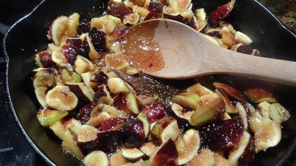 Place the diced figs in the skillet, and turn the heat on medium. Do...
