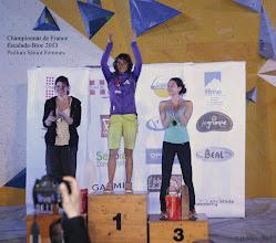 Photo: Championnat de France d'escalade - bloc 2013.Podium SŽnior Femmes