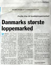 Billede: En avisartikel forud for Frejlevs loppemarked nummer fem. Overskriften er måske lige en tand over det sandsynlige, men man kan håbe at det skaber lidt ekstra liv i gaden...Og så er der lige en dato-fejl: Det foregår i juNi måned.