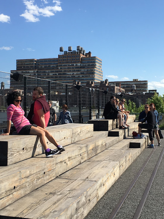 Public seating area overlooking the rail yards.