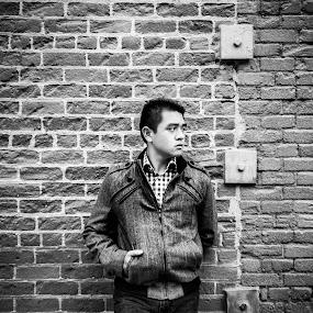 b&w Portrait by Kevin Kent - People Portraits of Men ( b&w, brick, men, posing, portrait, wall, asian )