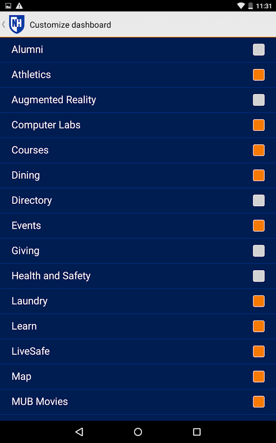 UNH Mobile- screenshot