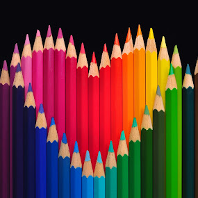 Colorful Love Pencil Colour Color Happy Stilllife Education by Artvertise ID - Artistic Objects Still Life ( heart, illustration,  )