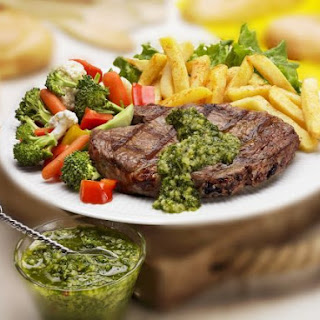 Steak with Pesto and Fries