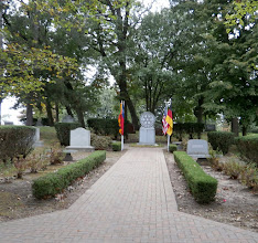 Photo: Entering the graveyard of Rotary Founder Paul Harris with the Rotary Memorial