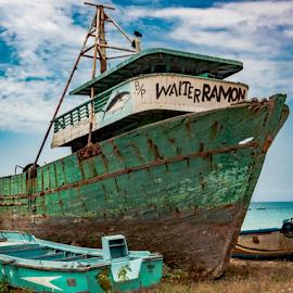 The Forgotten Boat  by John Wilson - Transportation Boats ( fishing boats, pacific ocean, south america, boats, ecuador )