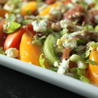Heirloom Tomato Salad with Pickled Walnuts and Blue Cheese