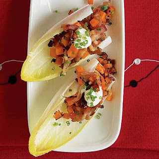 Endive Spears with Sweet Potato, Bacon & Chives.