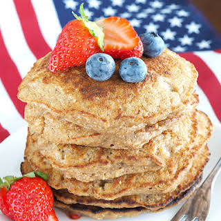 Rustic Oatmeal and Berry Pancakes.