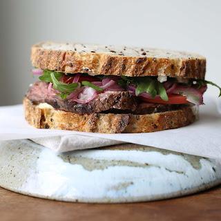 Hanger Steak Sandwich With Marinated Onions.