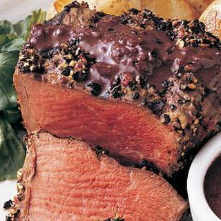 Grilled Peppered Filets with Brandy Peppercorn Sauce.