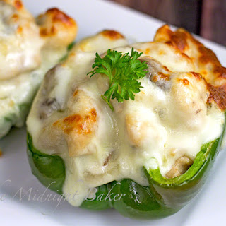Philly Style Mushroom Asiago Chicken Stuffed Peppers.