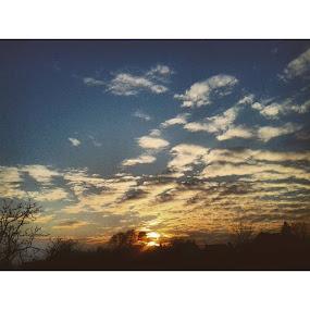 Sunset by Nat Bolfan-Stosic - Landscapes Sunsets & Sunrises ( clouds, calm, sky, village, sunset )