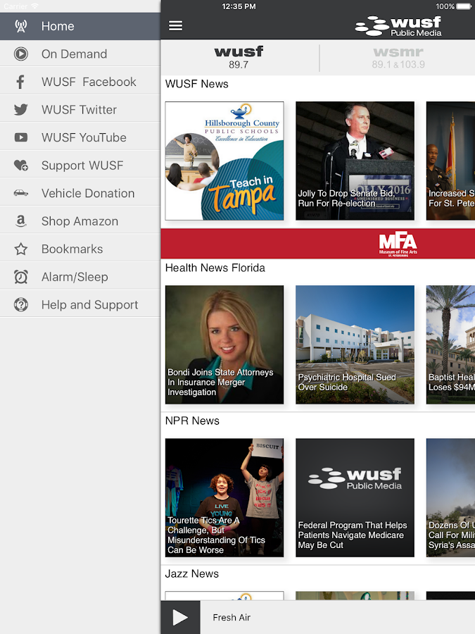 WUSF Public Media App- screenshot