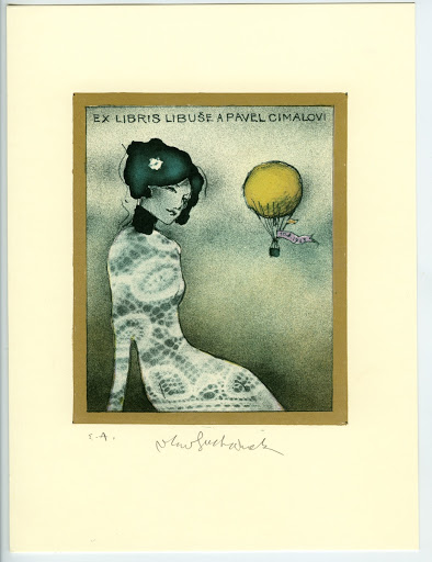 398. Bookplate. LIBUŠE A PAVEL CIMALOVI. Seated woman, flying balloon. (ribbon 10.8.1963).