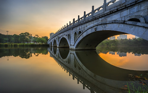 The Japanese Garden by Gordon Koh - City,  Street & Park  City Parks ( water, calm, reflection, architecture, cityscape, singapore, city, tranquil, asia, bridge, sunrise, garden, golden hour,  )