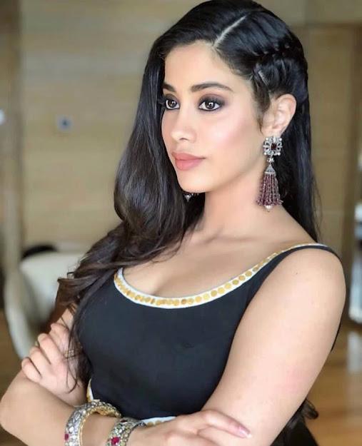 Janhvi Kapoor earrings, Janhvi Kapoor in black, Janhvi Kapoor face close up