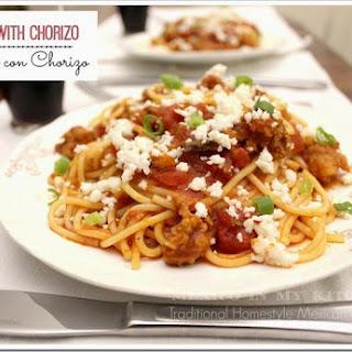 Pasta with Chorizo and Tomato Sauce.