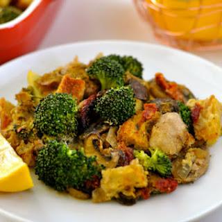 Broccoli Casserole with Mushrooms, Sun-Dried Tomatoes, Italian Bread & Vegan Eggs.