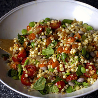 Summer Succotash with Bacon and Garlic Croutons.