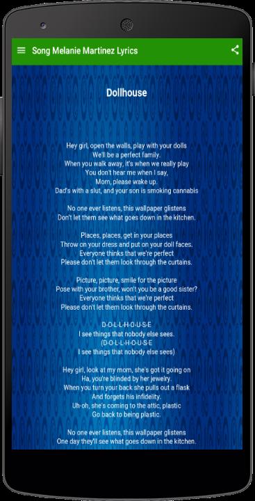 Song Melanie Martinez Lyrics - Android Apps on Google Play