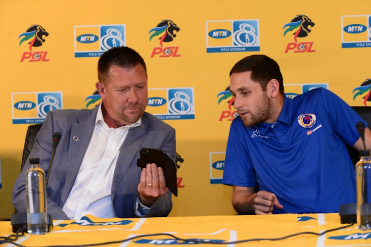 Eric Tinkler (Coach of SuperSport United) and Dean Furman of SuperSport United during the SuperSport United press conference at PSL Offices on October 11, 2017 in Johannesburg, South Africa.