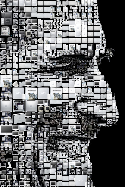 Photo: A mosaic portrait of Apple CEO's Steve Jobs made out of Apple products. Created by Charis Tsevis for the Los Angeles Times