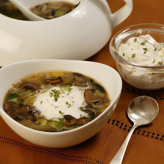 Mushroom and Leek Soup with Thyme Cream.