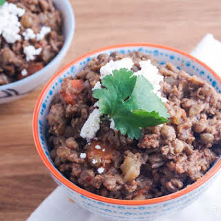 Slow Cooker Red Pepper and Ground Turkey Lentils.