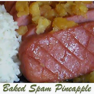Baked Whole Spam and Pineapple.