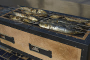 Sardines cooking over the coals in our hibachi.