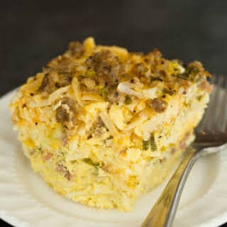 Slow Cooker Sausage, Hash Brown & Cheddar Breakfast Casserole.
