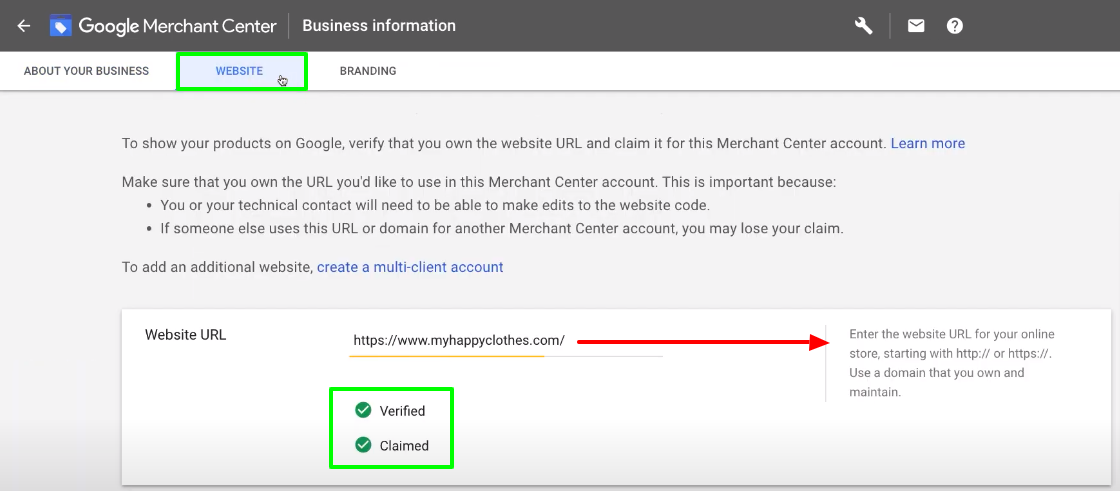 Complete the website verification process