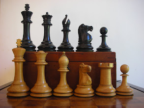 Photo: CH220; K=3.5in, base=1.4in box/ebony - sadly with pieces missing (2x black rooks, I knight and several pawns) that have since been replaced.