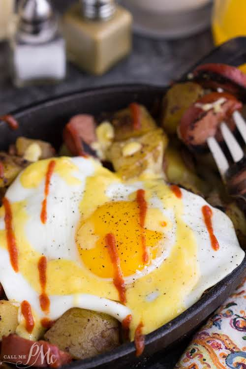 "Sausage Potato Hash Fried Eggs Benedict Recipe""A delicious twist on Eggs Benedict,..."