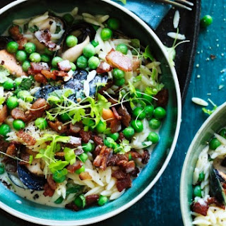 Mussels With Risoni, Peas And Bacon.