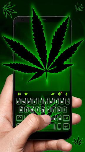green neon weed keyboard theme screenshot 1