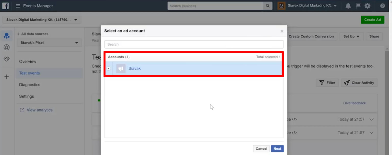 Choose the Facebook Ads account where you'd like to create a custom audience