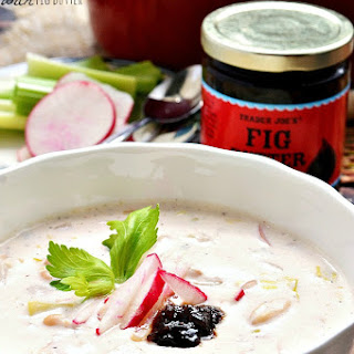 Gluten Free Radish and Celery Cream Soup with Fig Butter