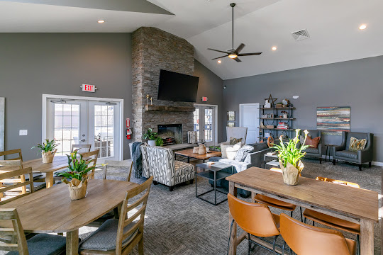Community clubhouse with seating areas, plants, decorations, and a mounted TV above the fireplace